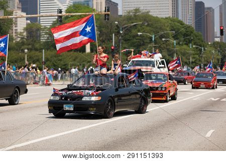 Chicago, Illinois, Usa - June 16, 2018: The Puerto Rican Day Parade, Puerto Ricans Driving Modified