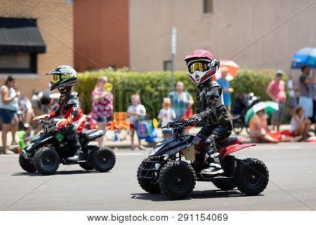 Jasper, Indiana, Usa - August 5, 2018: The Strassenfest Parade, Animatronic Robot Promotes Atv Safet