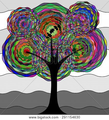 White Gray Background And The Abstract Tree