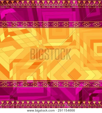 Yellow Pink Colored Image Of Frame With Abstract Figures