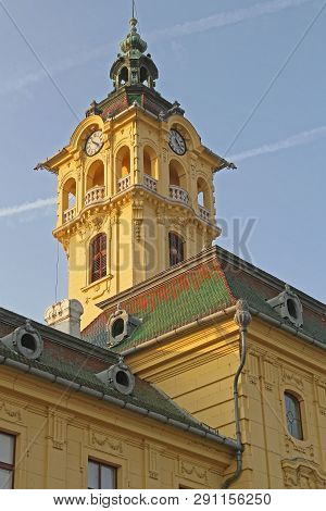 Szeged, Hungary - March 11, 2011: Clock Tower At City Hall Baroque Building In Szeged Hungary