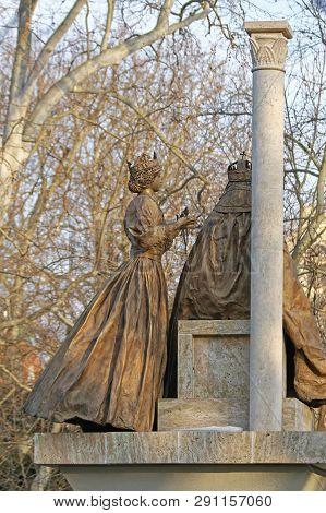 Szeged, Hungary - March 11, 2011: Saint Stephen And Gisella Statue At Szechenyi Park In Szeged, Hung