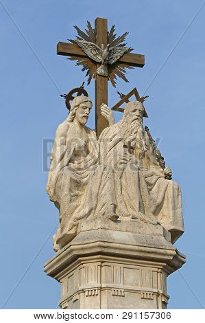 Szeged, Hungary - March 11, 2011: Holy Trinity Religious Sculpture Marble Monument At Dom Square In