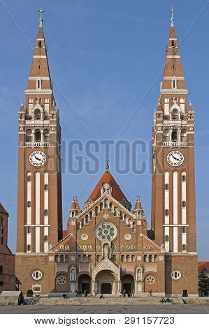 Szeged, Hungary - March 11, 2011: The Votive Church And Cathedral Of Our Lady Of Hungary In Szeged.