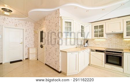 Luxury Kitchen Classic Italian Style, White Wooden Panel With Marble Table Top