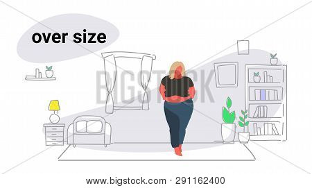 Abdomen Fat Overweight Woman Blonde Fatty Girl Obesity Over Size Concept Unhealthy Lifestyle Modern