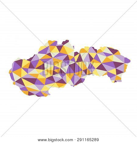 Slovak Republic Polygonal Map Background Low Poly Style Yellow, Orange, Blue, Purple Colors Vector I