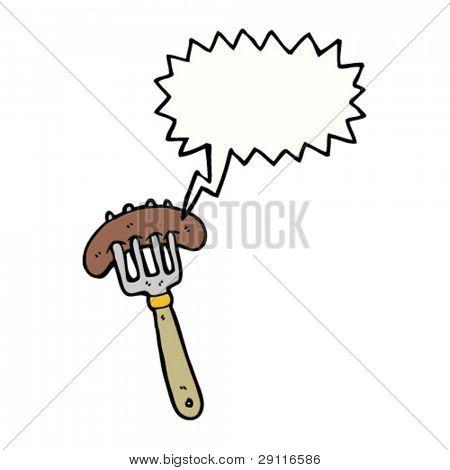 sizzling sausage on fork cartoon