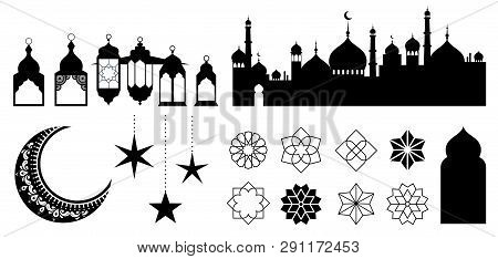 Islamic Ornaments, Symbols And Icons. Vector Illustration With Moon, Lanterns, Patterns And City Sil