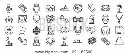 Hiphop Icon Set. Outline Set Of Hiphop Icons For Web Design Isolated On White Background