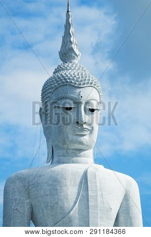 Giant Buddha In The Temple Wat Phu Manorom In Mukdahan Thailand