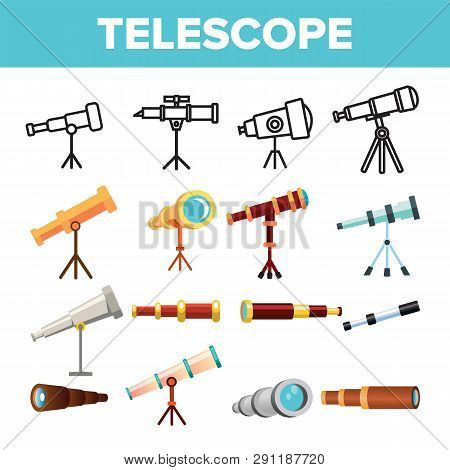 Telescope Icon Set Vector. Spyglass Discover Tool. Astronomy Science Magnify Instrument. Learning Un