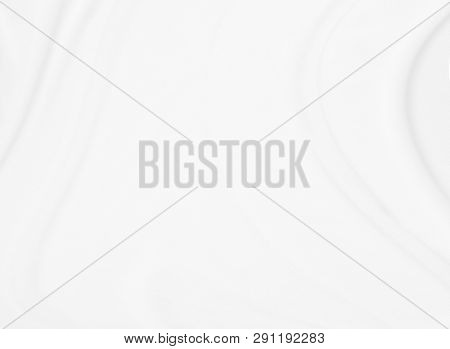 Closeup  Elegant Crumpled Of White Silk Fabric Cloth Background And Texture. Luxury Background Desig