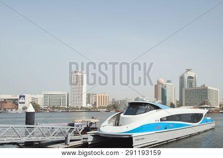 Uae, Dubai - January, 2019: Dubai Ferry At Water Station In Al Seef Area