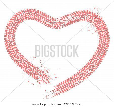 Tire Tracks Heart. Motorist Love, Hearts Tire Track And Motor Car Enthusiast Valentines Card Grunge