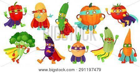 Superhero Vegetables. Super Cucumber, Hero Mask On Pumpkin And Vegetable Food With Superheroes Cloak