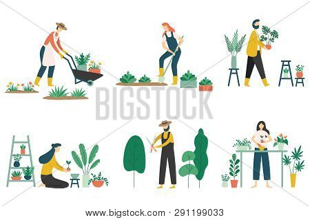 People Gardening. Woman Planting Gardens Flowers, Agriculture Gardener Hobby And Garden Job Flat Vec