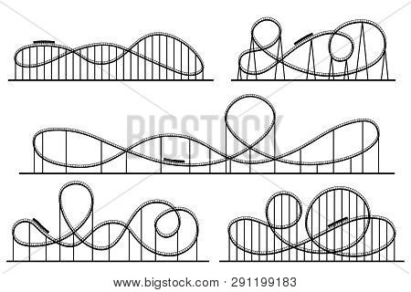 Roller Coaster Silhouette. Amusement Park Atractions, Switchback Attraction And Rollercoaster Vector