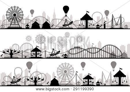 Amusement Park Landscape. Carnival Roller Coasters Silhouettes, Festive Carousel And Ferris Wheel Pa