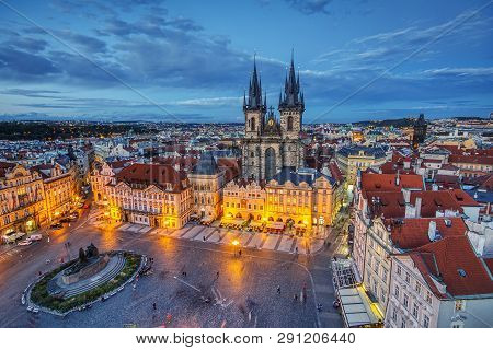 Prague, Czech Republic - September 24, 2018:  Old Town Square And Church Of Mother Of God Before Tyn