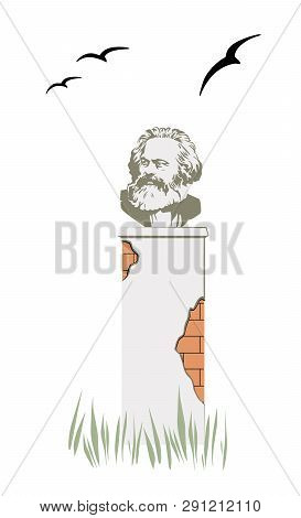 Collapsing Monument To Karl Marx In A Field With Ominous Black Birds