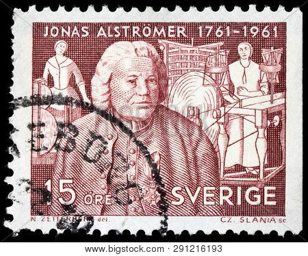 Luga, Russia - February 17, 2019: A Stamp Printed By Sweden Shows Image Portrait Of Jonas Alstromer