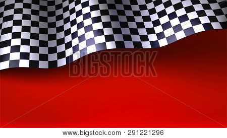Waving Checkered Racing Flag On Red Background. Flag For Car Or Motorsport Rally. Three Dimensional