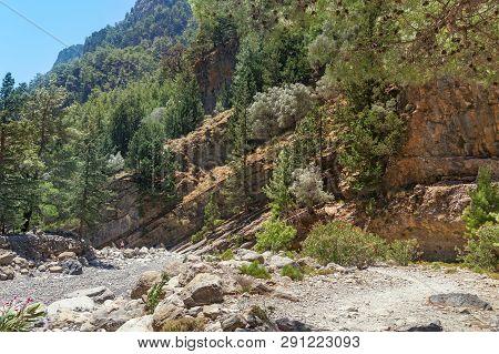 Unusual Landscape In Samaria National Park On The Island Of Crete, Greece. Famous Tourist Place Sama
