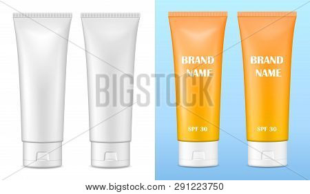 Vector Realistic Image (mock Up, Layout) Of Blank Matte And Glossy Packaging For Cosmetics. Layout O