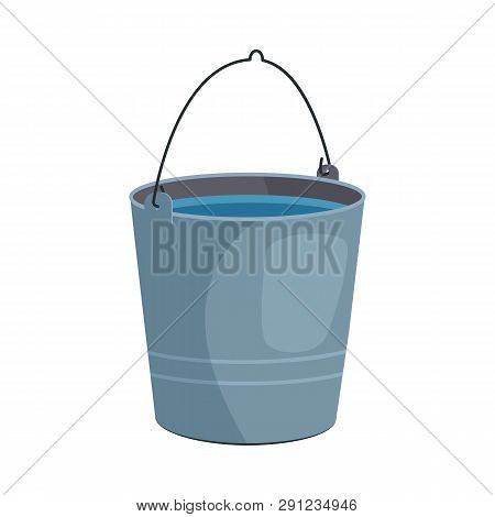 Metal Bucket Illustration. Basket, Home, Cleaning. Houseware Concept. Vector Illustration Can Be Use
