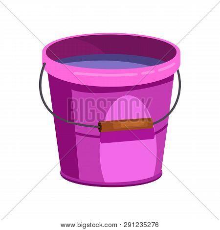 Purple Plastic Bucket Illustration.basket, Home, Cleaning. Houseware Concept. Vector Illustration Ca
