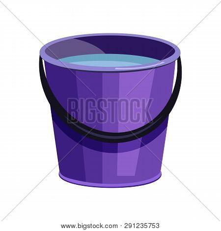 Violet Bucket Illustration. Basket, Home, Cleaning. Houseware Concept. Vector Illustration Can Be Us