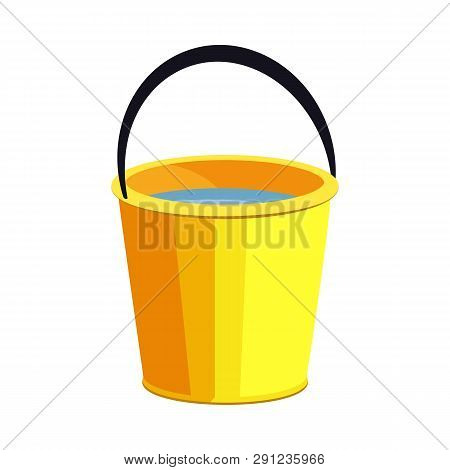 Yellow Bucket Illustration. Basket, Home, Cleaning. Houseware Concept. Vector Illustration Can Be Us
