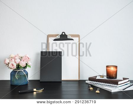 Empty Chalkboard On Table. Home Office Concept Or Mockup. Chalkboard Mock Up Portrait Format , Copy