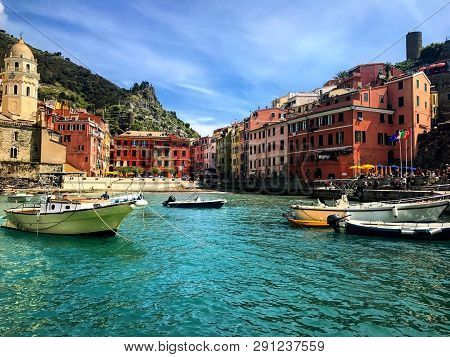 Vernazza Is A Colorful And Friendly Fishing Town In Cinque Terre, Italy.