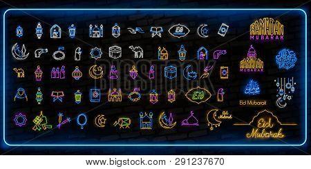 Ramadan Kareem Icon Set Neon. Design Template, Design Elements. Ramadan Kareem - Glorious Month Of M