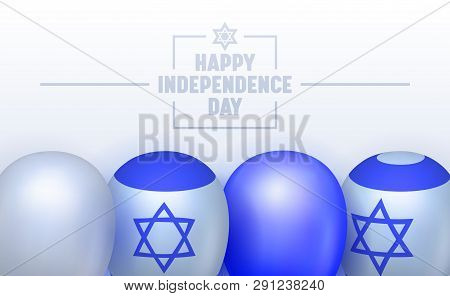 Independence Day Of Israel Typography Banner. Marked By Official And Unofficial Ceremony. Family Mee