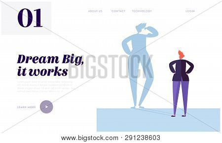 Big Dream Landing Page. Character Has Life Goal That Want Doing. Carefully Plan And Stay Focused. Ne