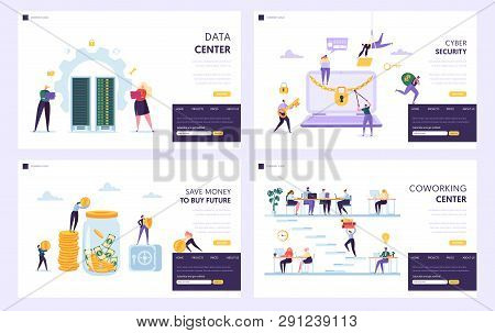 Save Money To Buy Future Landing Page Set. Data Center And Cyber Security Protect Private Informatio
