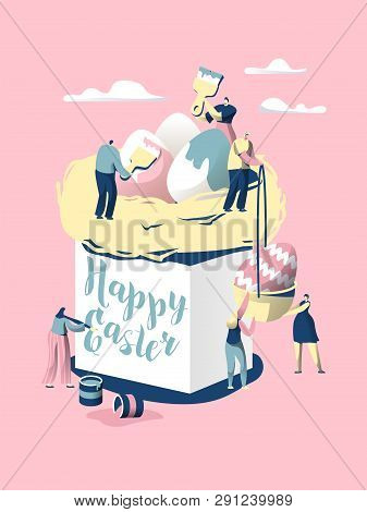 Easter Cake. Character Make Bread For Celebrate Christian Holiday. Decorate With Colorful Egg And Wr