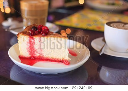 Tasty Delicious Seasonal Fresh Mixed Red Ripe Berries Fruit Topping On Crepe Layer Cake. Healthy Swe