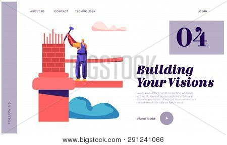 Builder Engineering Bridge With Brick And Hammer Landing Page. Architect Man Building Gate. Worker E