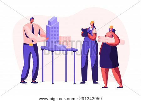 Architect Engineer Create Building Project In Office. Woman Worker In Helmet Projecting Construction