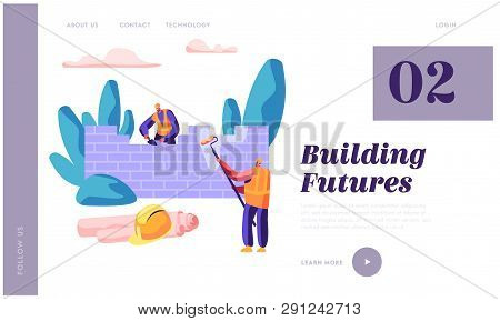 Professional Builder In Process Construction Brick Wall Website Template. Man Hold Paint Roller In H