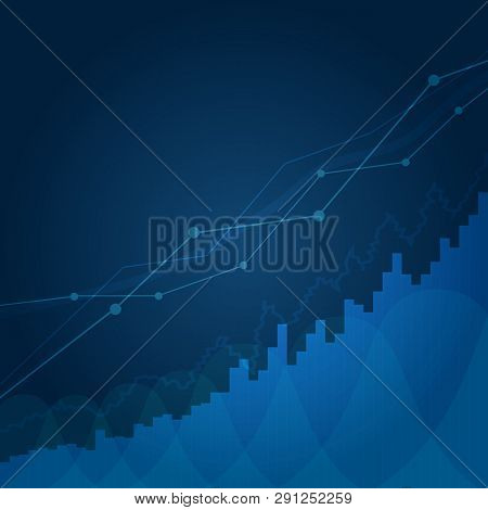 Abstract Financial Chart With Uptrend Line Graph In Stock Market On Blue Background. Business Chart.