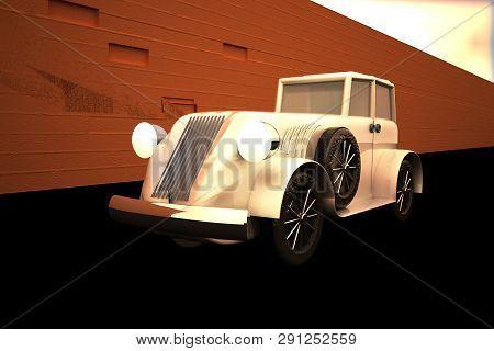Old Car Running Near A Brickwall, 3d Rendering