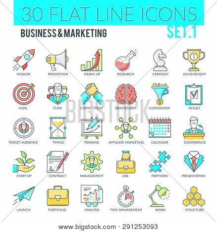 Set Of Modern Filled Outline Icons Of Business, Marketing, Advertising, Management, Market Research.