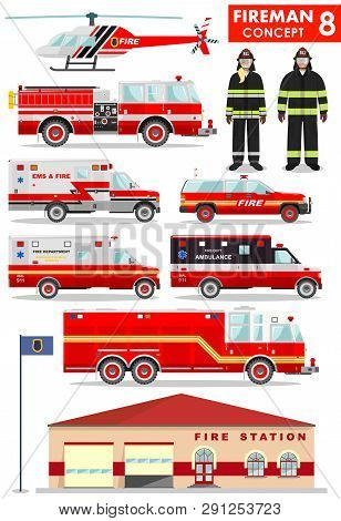 Fireman Concept. Detailed Illustration Of Firefighter, Firewoman In Uniform, Fire Station Building,