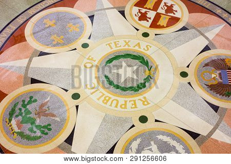 Austin, Texas - March 28, 2018 - Seals On The Floor Of The Texas State Capitol Building Or Statehous