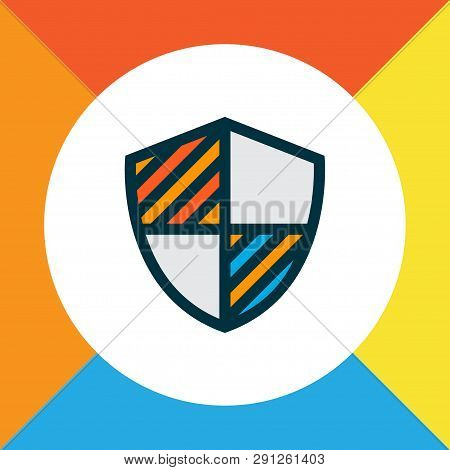 Shield Icon Colored Line Symbol. Premium Quality Isolated Protection Element In Trendy Style.